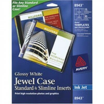 AVERY 8943 Jewel Case Glossy White Standard and Slimline Inserts
