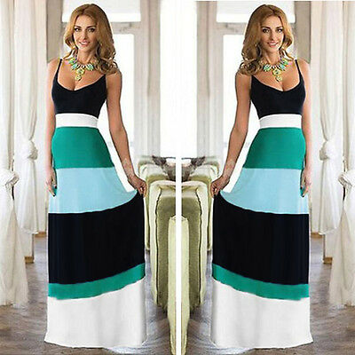 Women Summer Backless Long Maxi Evening Party Dress Patchwork Boho Beach Dress