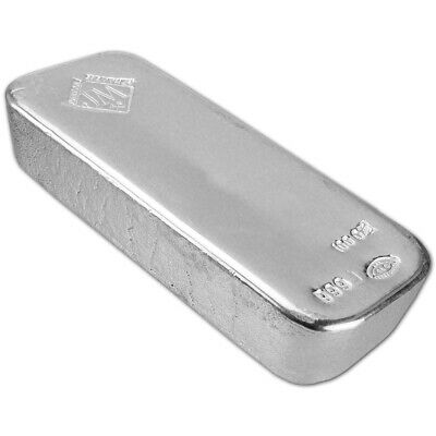 100 oz. JM Silver Bar - Johnson Matthey (Poured) .999 Fine