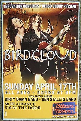 Signed BIRDCLOUD Gig POSTER In-Person w/proof Autograph Concert