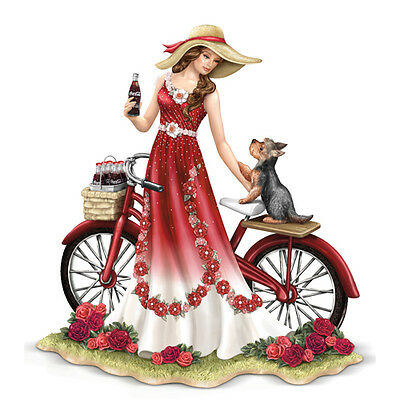 Refreshing Promenade Coca Cola Lady with Bike and Yorkie Dog Figurine