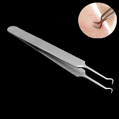 Bend Curved Facial Extractor Blackhead Acne Blemish Remover Tweezer Needle Tool