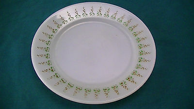 "Vintage Termo-Rey made in Brazil White green gold Flowers 7 1/2"" plate"