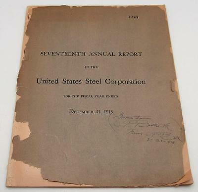 1918 United States Steel Corporation 17th Annual Report