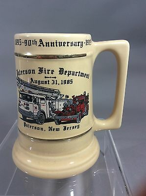 Collectible Firefighter Mug Stein Paterson Fire Department New Jersey 90th Anniv