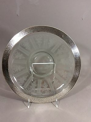 Hawkes Art Glass Sterling Silver Rim American Brilliant Period LG Tray 15""