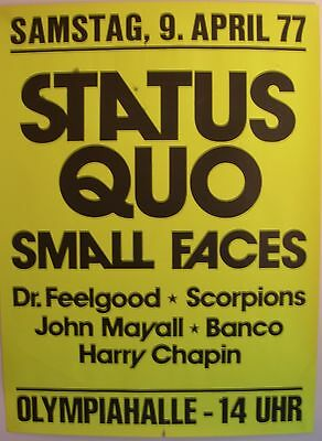 Status Quo Small Faces Concert Tour Poster 1977 Rockin' All Over The World