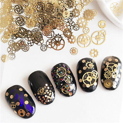 Ultra-thin 3D Nail Art Decoration Bronze Time Wheel Steam Punk Manicure