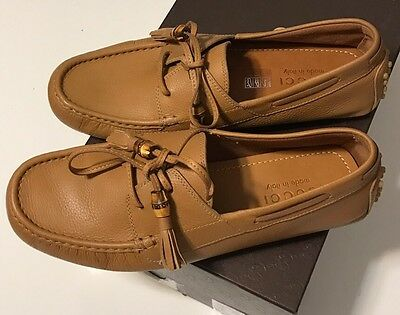 NIB GUCCI Men's 267923 HEBRON WILDFIRE LEATHER DRIVING MOCCASIN CASUAL SHOES 8.5