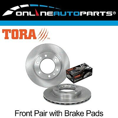 2 Front Disc Brake Rotors + Pads suits Landcruiser 8/80~1/90 4x4 40 60 70 Series