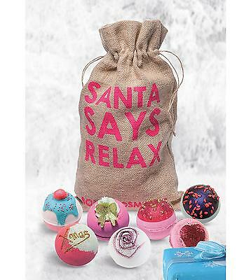 Bath Bomb Cosmetics Christmas Santa Says Relax Sack Wrapped Gift Set Soap & Bath