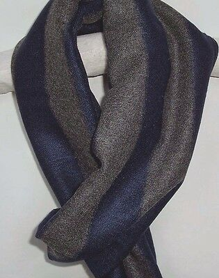 New Mens Soft Cashmere Feel Scarf Navy Blue Grey Stripe  Pattern Frayed Ends