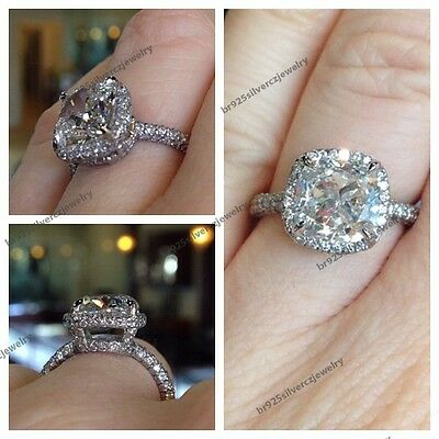 2.00 Carat Cushion Cut Halo Diamond With 14K White Gold Women's Engagement Ring