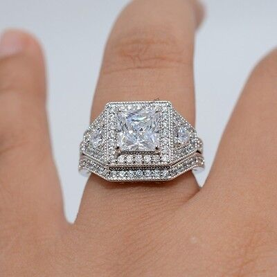 Latest Collection D/VVS1 Diamond White Gold Filled Engagement Wedding Ring Set