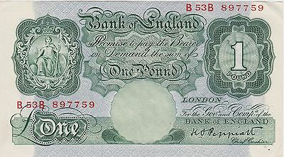 B260 K.o.peppiatt B53B Green One Pound Banknote In Good Extremely Fine Condition