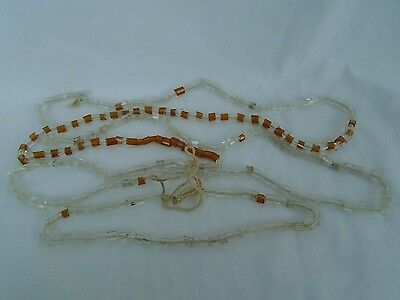 antique vintage clear amber glass bead string lot