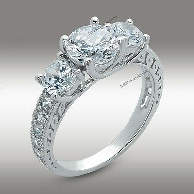 2.1/1 CT.T.W Round Cut Three Stone Engagement Ring