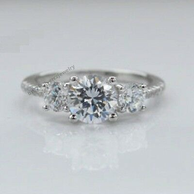 Brilliant Round Cut D/VVS1 Diamond Three Stone Unique Engagement Ring Size 5-12