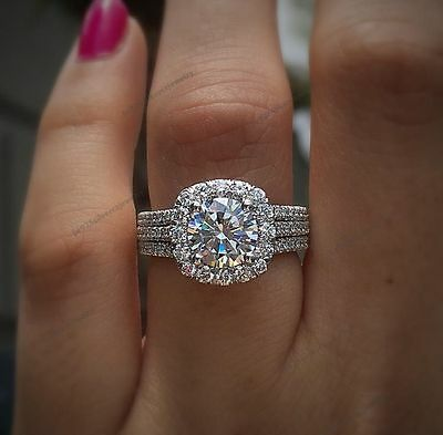 1.50 Carat Round Cut Diamond Engagement Wedding Ring 10K White Gold Over