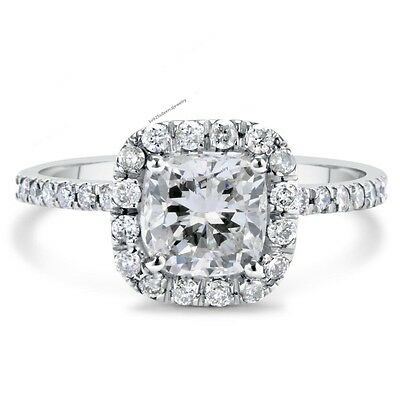 1.75 CT Cushion Cut D/VVS1 Diamond Engagement Ring 18k White Gold Plated