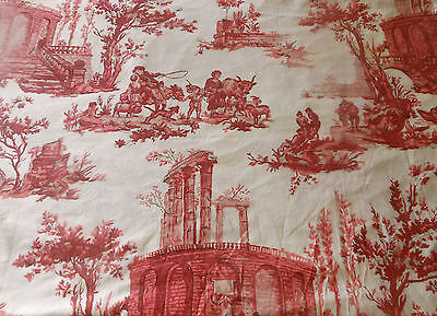 Antique French Pastoral Toile Cotton Fabric  #1 ~ Red Pink  ~ Paul Dumas 1930's