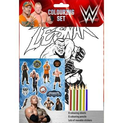 WWE Colouring Set 8 Sheets 6 Pencils And Reusable Stickers John Cena The Rock