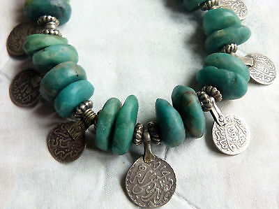 Antique Moroccan amazonite and antique Moroccan silver coin necklace