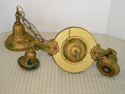 Antique Victorian 2 Socket Brass~Chandelier Light Fixture Floral Decoration