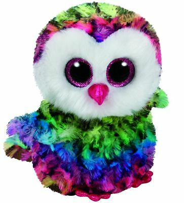 """NEW Ty Beanie Boo Owen the Rainbow Owl 6"""" Plush Collectible Soft Toy Gift"""