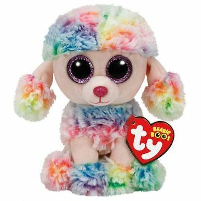"""NEW Ty Beanie Boo Rainbow the Poodle Dog 6"""" Plush Collectible Soft Toy Gift"""