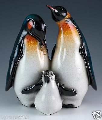Mother Father Baby Penguin Figurine 6 Inch High Resin Glossy Finish New In Box
