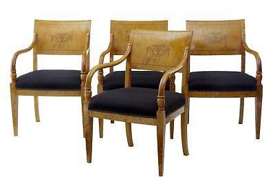 Set Of 4 Early 20Th Centuty Empire Design Birch Inlaid Dining Armchairs