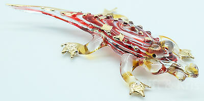 Figurine Hand Blown Glass Crocodile No Painted w/ Painted Gold Trim - 001