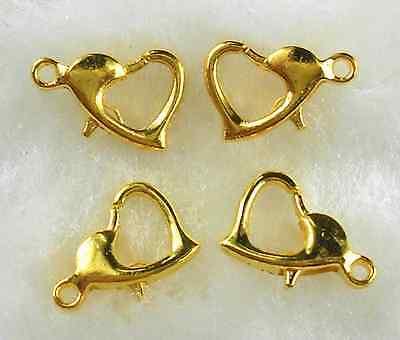 20 Pcs 10MM Gold Plated Heart Shape Lobster Clasps Hooks Jewelry Findings