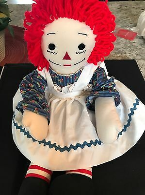 HANDMADE 18 INCH RAGGEDY ANN DOLL WITH RED HAIR With Dress And Apron