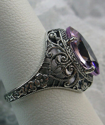 Marquise 4ct Pink Gem Solid Sterling Silver Art Deco Floral Filigree Ring Size 8