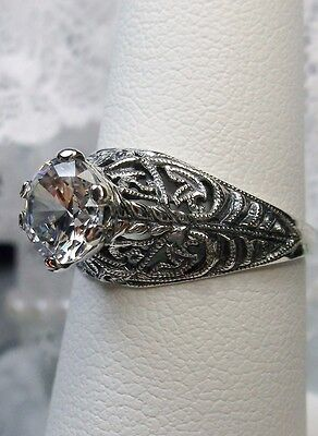 1.5ct White Gem Solid Sterling Silver Art Deco Wedding Filigree Ring Size: 8