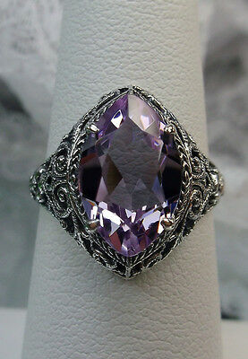 4ct Marquise Pink Gem Solid Sterling Silver Art Deco Floral Filigree Ring Size 7