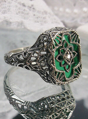 Art Deco Revival Emerald-Glass Solid Sterling Silver 1930s Filigree Ring Size 7