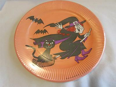 Vintage 1976 American Greetings Halloween Paper Plates IP Witch Black Cat Bats