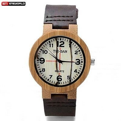 Casual Men's Women's Bamboo Natural Wood Watch Quartz Leather Wristwatches w/Box