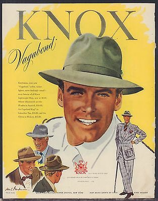 1948 KNOX Vagabond Men's Vintage Hat Clothing Accessories Forties Fashion AD