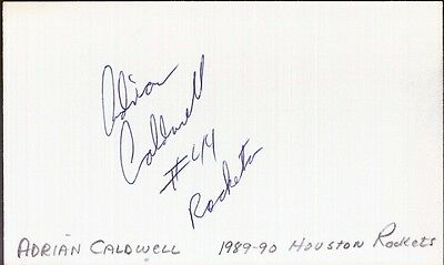 Autographed Index Card - Adrian Caldwell Houston Rockets Center