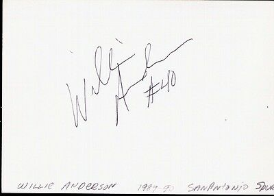 Autographed Index Card Willie Anderson San Antonio Spurs Small Forward LAST ONE!