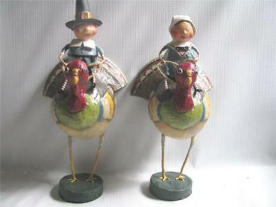 2 Thanksgiving Figures Tom and Goodie on Goblers Lori Mitchell