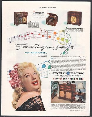 1947 GENERAL ELECTRIC GE Console Tube Radio Model 502, 354 417A AD Helen Forrest