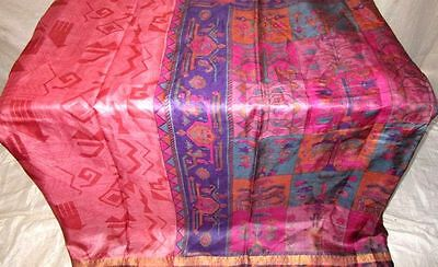 Multi-color Pure Silk 4 yard Vintage Sari Saree Christmas Fabric Sarees #12GAF