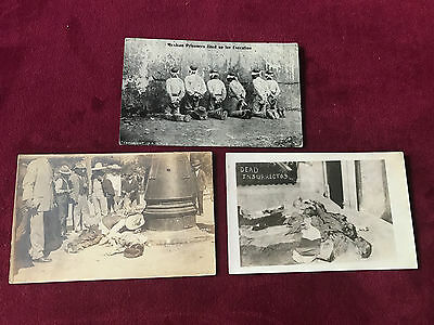 Lot of 3 Mexican Revolution Gunfighters War Prisoners Old Real Photo Postcards