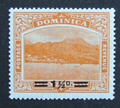 1920 Dominica mint stamp 1½ on 2½ orange with no war stamp