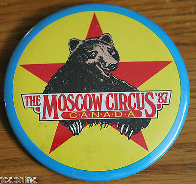 Vintage 1987 MOSCOW CIRCUS PINBACK badge CANADA TOUR Russian Bear Russia